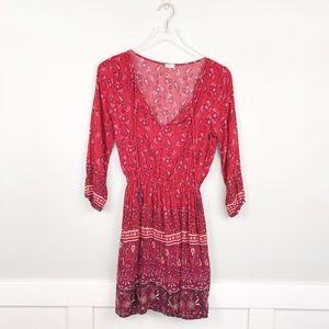 Hollister V Neck Long Sleeve Boho Dress Red